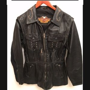 Harley-Davidson Leather Jacket w/zip off sleeves M